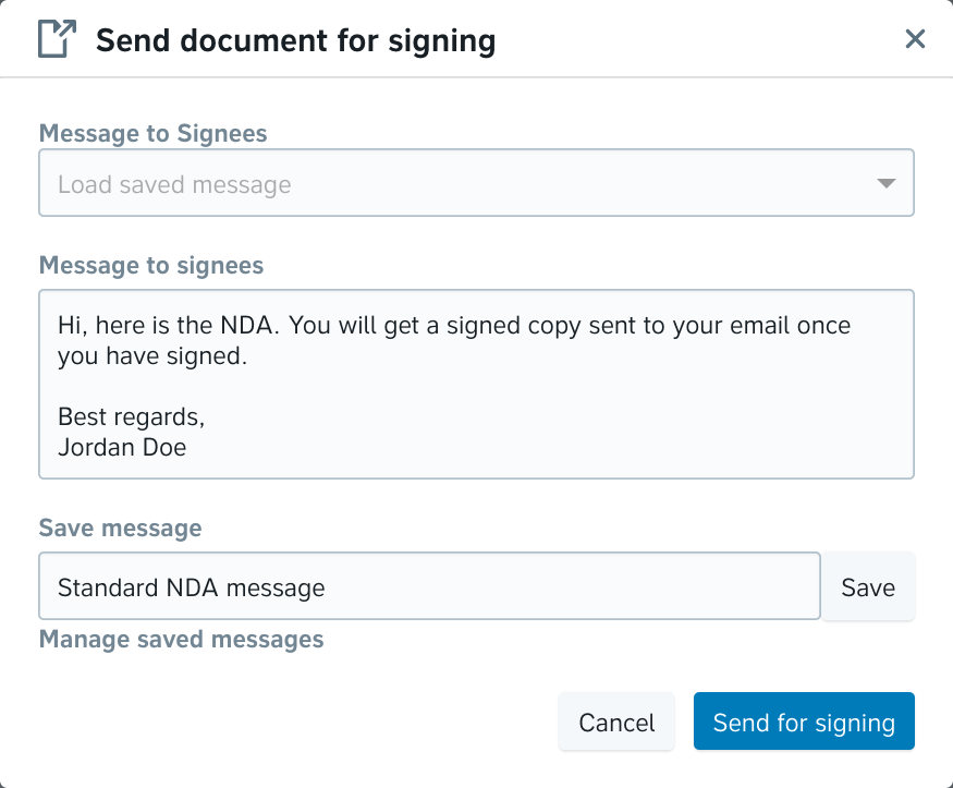 Save a signing message