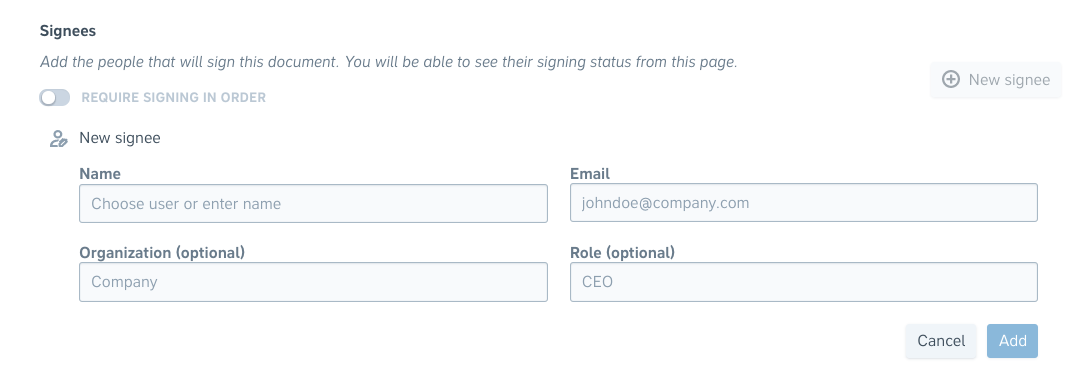 Adding signees to projects in Precisely