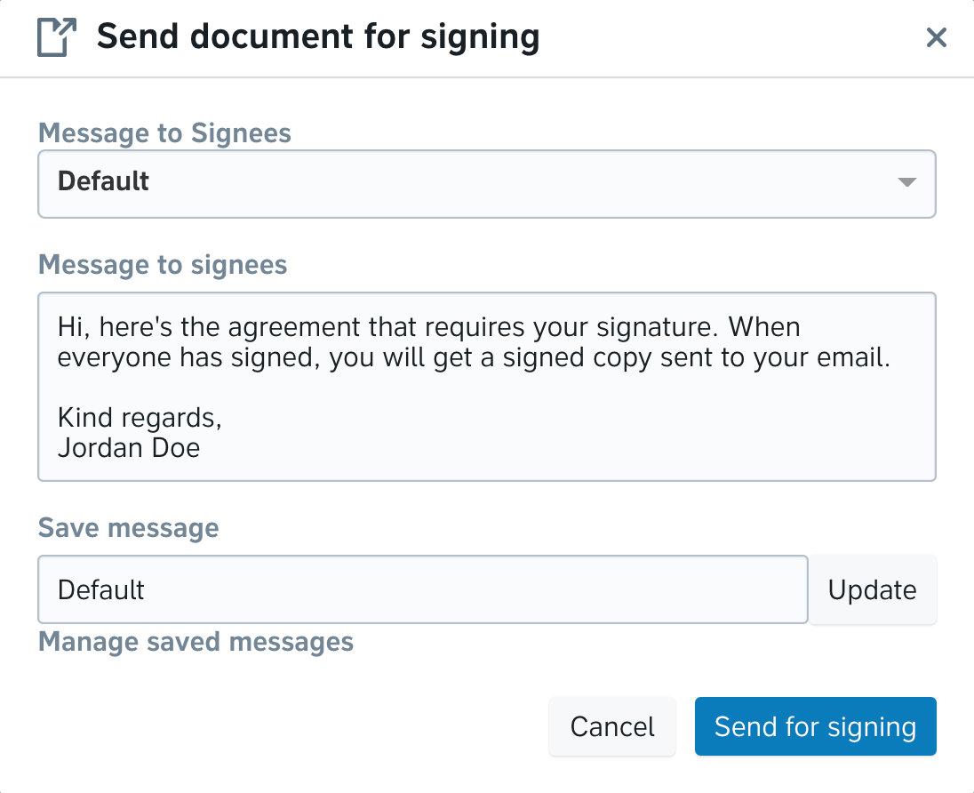Signing message — entering a message for signees in Precisely