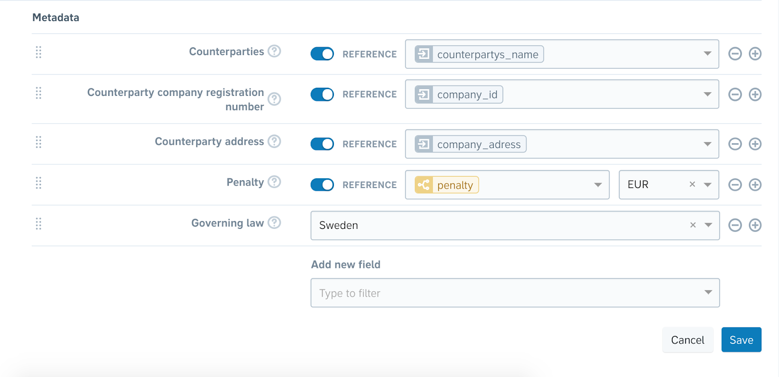 Examples of options when creating reference-based metadata tags for automated templates
