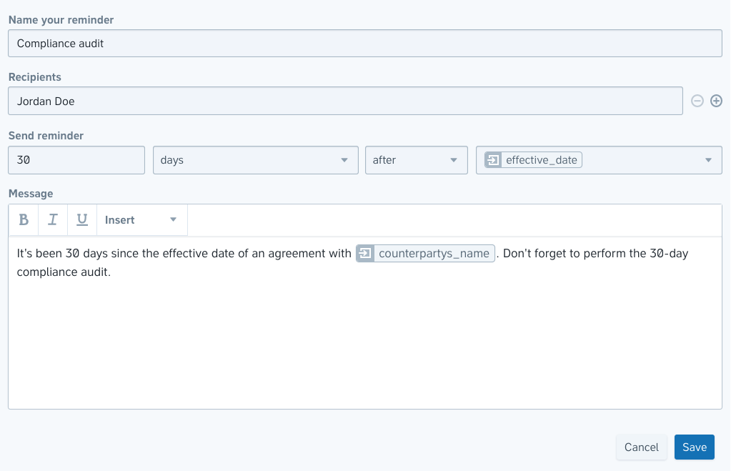 An image showing the various options when adding an automated reminder in Precisely, such as setting a reference-based trigger