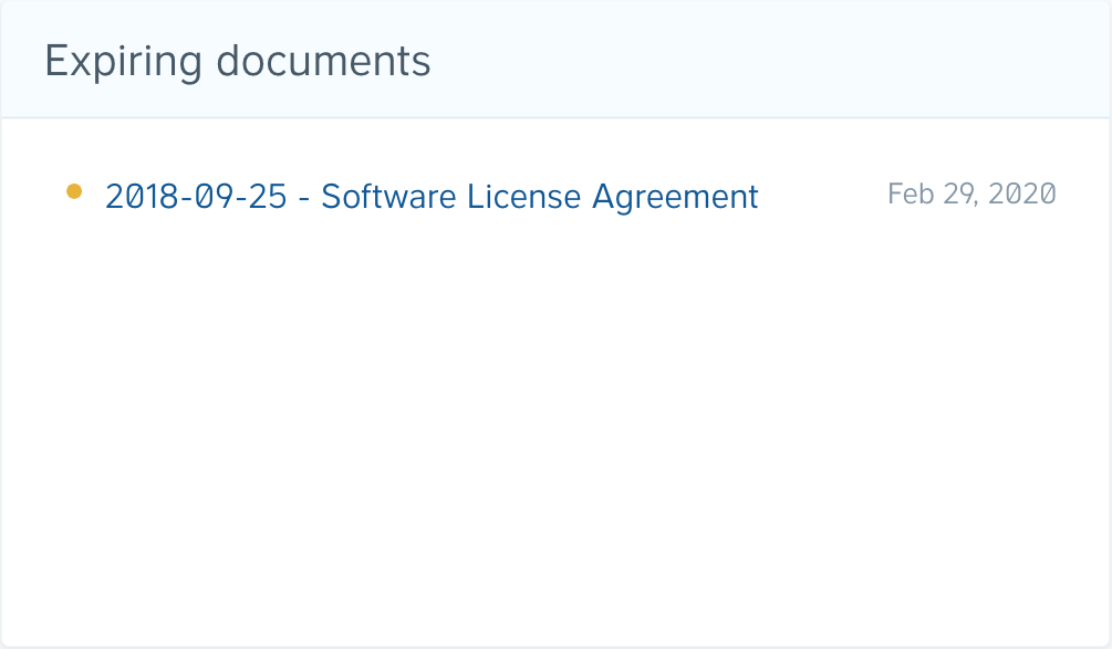 An example of an expiring document in the dashboard