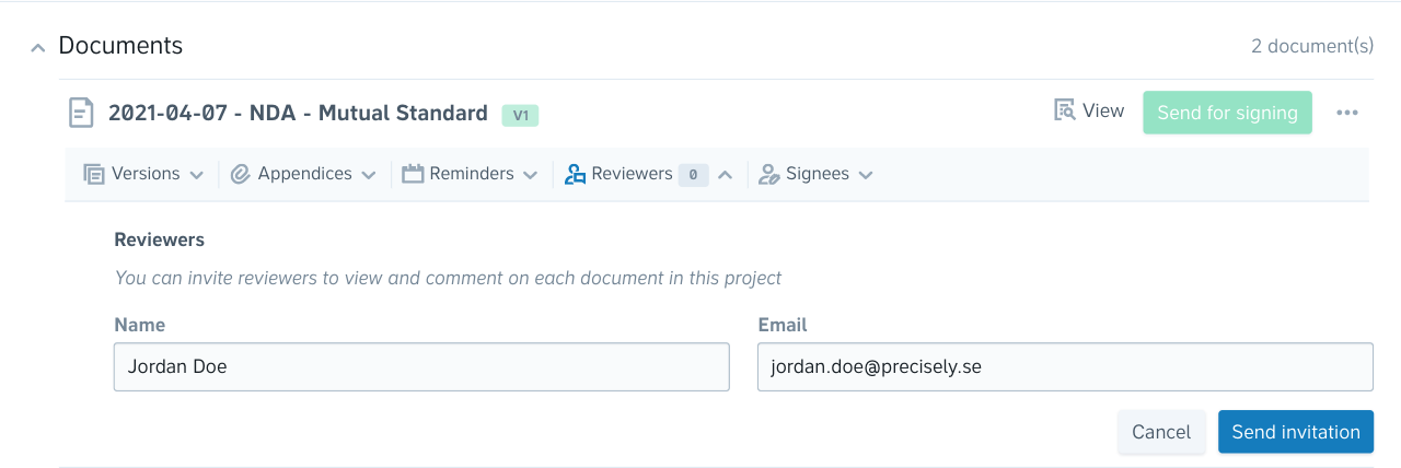 A screenshot showing how you can invite a person to review a document
